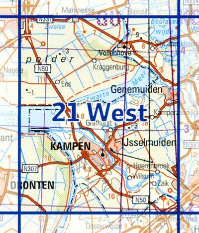21  West 9789035002180  Topografische Dienst / Kadaster Ned. 1:50.000  Wandelkaarten Kop van Overijssel, Vecht & Salland
