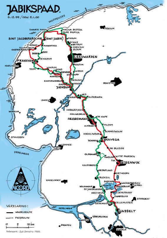 Het Jabikspaad (Jacobspad Friesland) 9789056154462  Friese Pers   Santiago de Compostela, Wandelgidsen Friesland