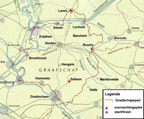 SP-08  Graafschapspad   Streekpad wandelgids 9789071068980  Wandelnet Streekpaden  Meerdaagse wandelroutes, Wandelgidsen Gelderse IJssel en Achterhoek