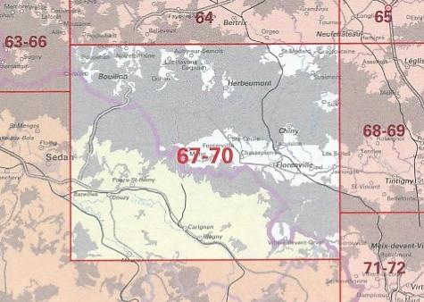 NGI-67-70  Bouillon (topografische kaart 1:50.000) 9789462351325  NGI Belgie 1:50.000  Wandelkaarten Wallonië (Ardennen)