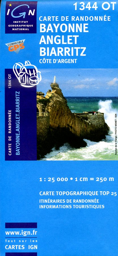 1344OT  Bayonne, Anglet, Biarritz | wandelkaart 1:25.000 3282111344038  IGN TOP 25  Wandelkaarten Baskenland