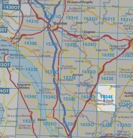 1634E Brossac 3282111634245  IGN Serie Bleue  Wandelkaarten Vendée, Charente