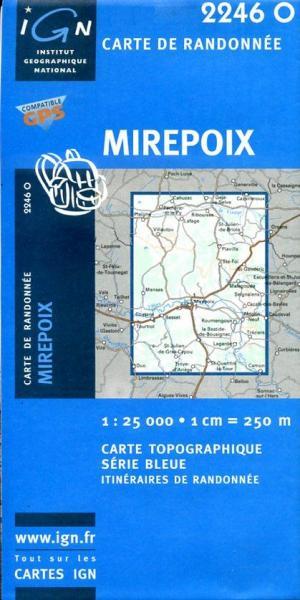 2246 Ouest   Mirepoix (2246O) 3282112246133  IGN Serie Bleue  Wandelkaarten Franse Pyreneeën