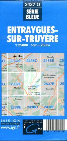 2437 Ouest Entraygues-sur-Truyere 3282112437128  IGN Serie Bleue 1:25.000  Wandelkaarten Lot, Tarn, Toulouse