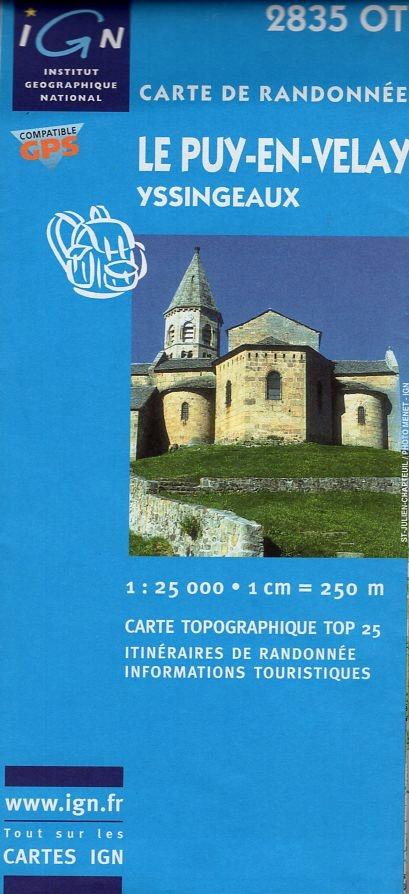 2835OT  Yssingeaux, le Puy-en-Velay | wandelkaart 1:25.000 * 3282112835016  IGN IGN 25 Auvergne  Wandelkaarten Auvergne