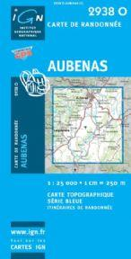 2938 Ouest: Aubenas, Largentiere 3282112938151  IGN Serie Bleue 1:25.000  Wandelkaarten Ardèche, Drôme