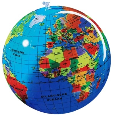 Opblaasbare wereldbol | ø 30 cm 3760039940537  Caly Globes / Wereldbollen  Globes, Kinderboeken Wereld als geheel