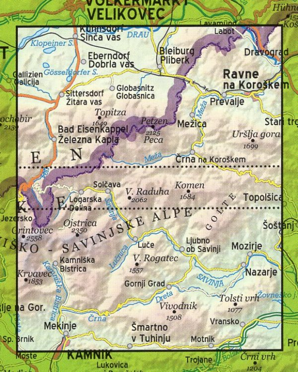 Kamnische & Savinja Alpen | wandelkaart 1:40.000 3830048522519  Kartografija   Wandelkaarten Slovenië