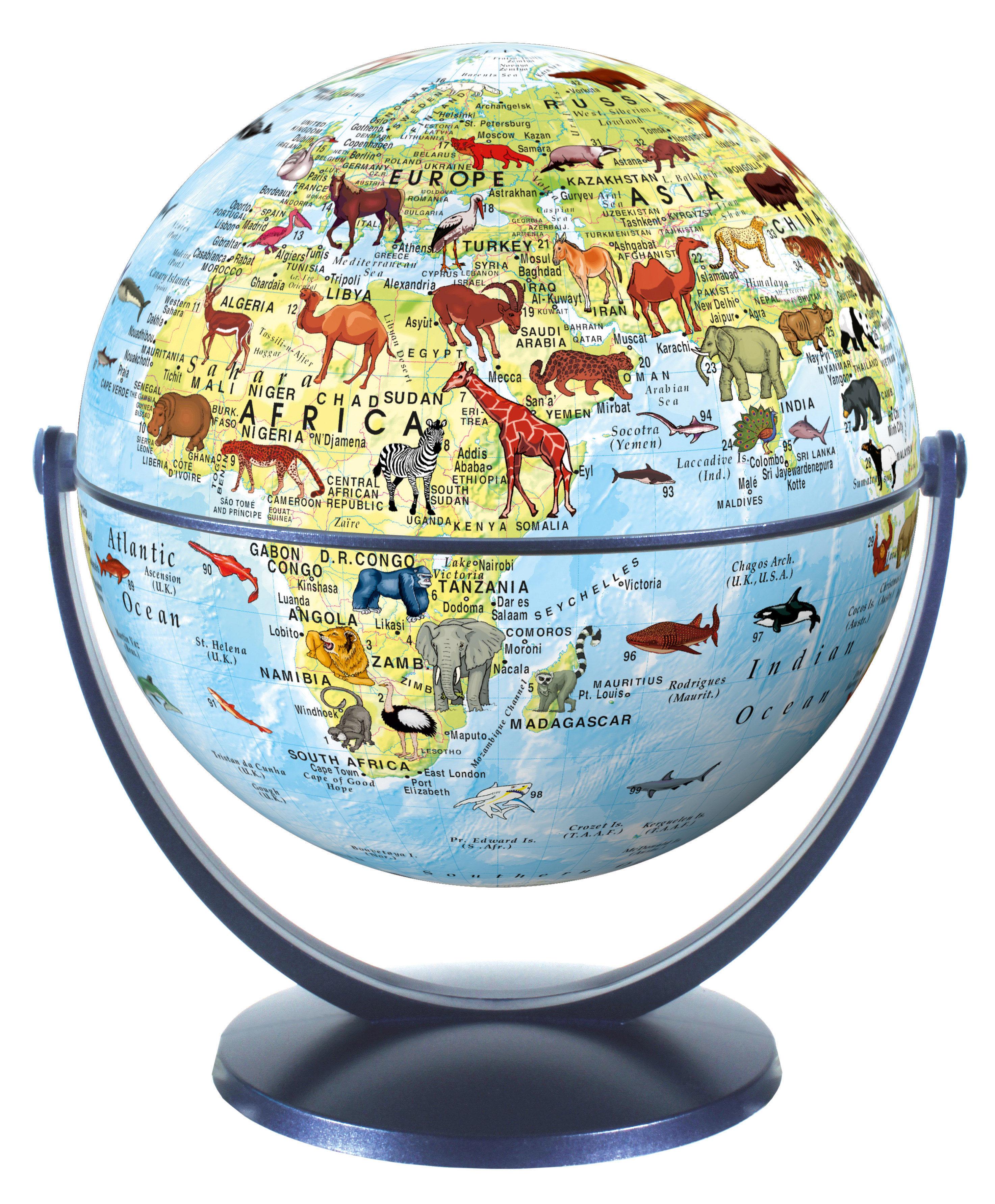 Draai & Kantelglobe 15 cm kinderglobe et dierenafbeeldingen 4028465940156  Stellanova Globes / Wereldbollen  Globes, Kinderboeken Wereld als geheel