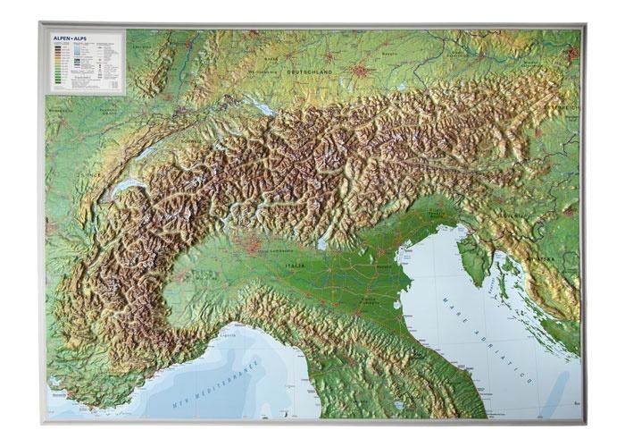Alpen, 3-dimensionale reliefkaart 1:1.200.000, aluminium lijst 4280000002457  Georelief   Cadeau-artikelen, Wandkaarten Zwitserland en Oostenrijk (en Alpen als geheel)