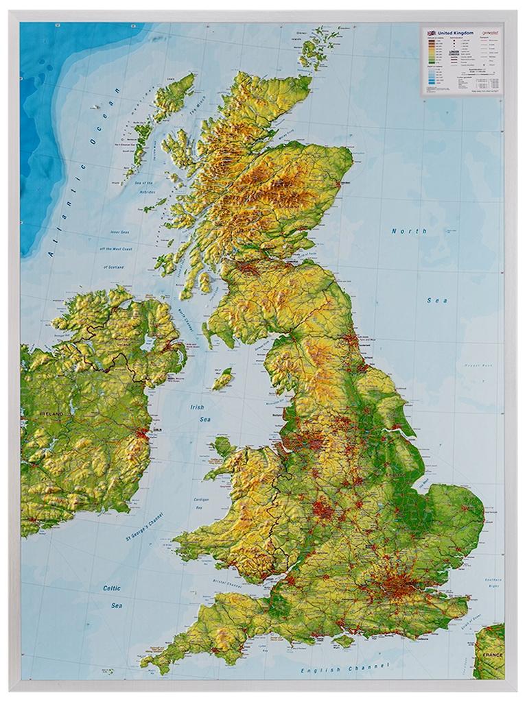 Groot-Brittannië 1:1.400.000 | 3D reliëfkaart 4280000664983  Georelief   Wandkaarten Groot-Brittannië