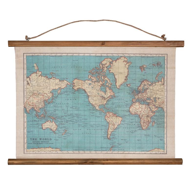 Wereldkaart van canvas met vintage print 5055992710012  Sass en Belle   Wandkaarten Wereld als geheel