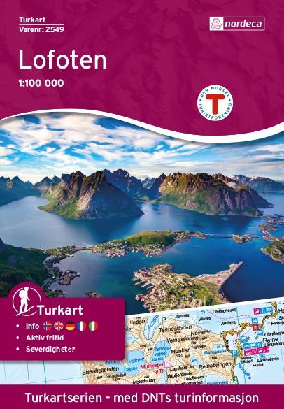 UG-2549 Lofoten kaart 1:100.000 7046660025499  Nordeca / Ugland Turkart Norge 1:100.000  Wandelkaarten Noorwegen boven de Sognefjord