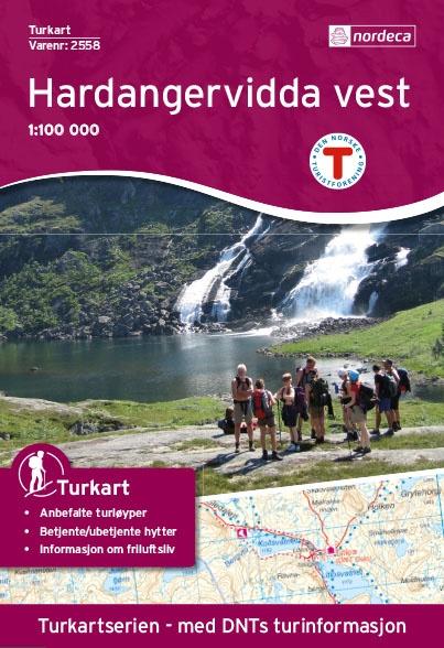 UG-2558  Hardangervidda Vest / kaart 1:100.000 7046660025581  Nordeca / Ugland Turkart Norge 1:100.000  Wandelkaarten Zuid-Noorwegen