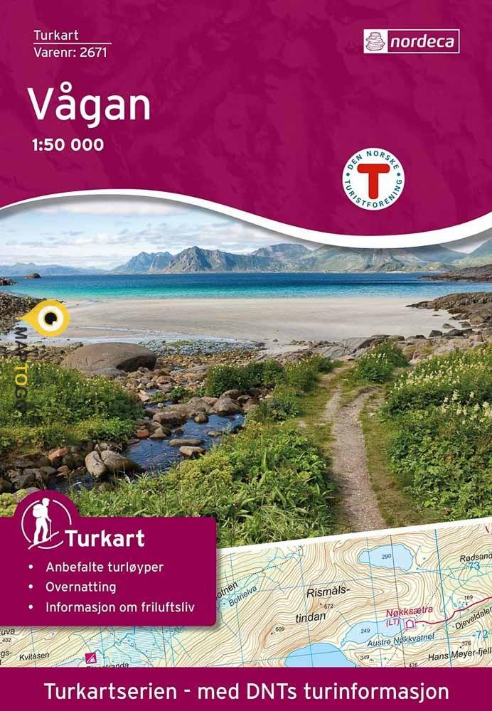 UG-2671  Vågan | topografische wandelkaart 1:50.000 7046660026717  Nordeca / Ugland Turkart Norge 1:50.000  Wandelkaarten Noorwegen boven de Sognefjord