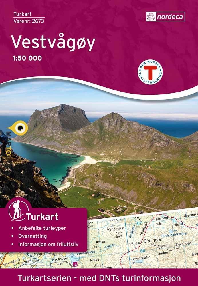 UG-2673  Vestvagoy | topografische wandelkaart 1:50.000 7046660026731  Nordeca / Ugland Turkart Norge 1:50.000  Wandelkaarten Noorwegen boven de Sognefjord