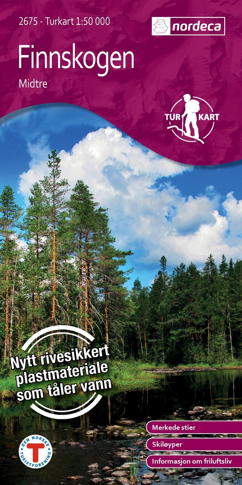 UG-2675  Finnskogen Midtre   topografische wandelkaart 1:50.000 7046660026755  Nordeca / Ugland Turkart Norge 1:50.000  Wandelkaarten Midden-Noorwegen