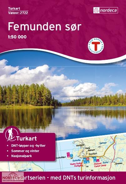 UG-2722  Femunden Sør | topografische wandelkaart 1:50.000 7046660027226  Nordeca / Ugland Turkart Norge 1:50.000  Wandelkaarten Noorwegen boven de Sognefjord