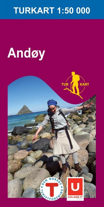 UG-2724  Andøy (Andoya) | topografische wandelkaart 1:50.000 7046660027240  Nordeca / Ugland Turkart Norge 1:50.000  Wandelkaarten Noorwegen boven de Sognefjord