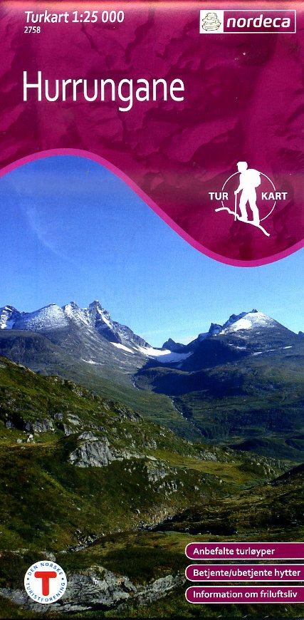 UG-2758  Hurrungane 1:25.000 7046660027585  Nordeca / Ugland Turkart Norge  Wandelkaarten Zuid-Noorwegen