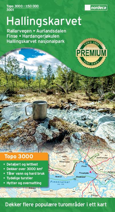UG-3001 Hallingskarvet | topografische wandelkaart 1:50.000 7046660030011  Nordeca / Ugland Topo 3000  Wandelkaarten Zuid-Noorwegen