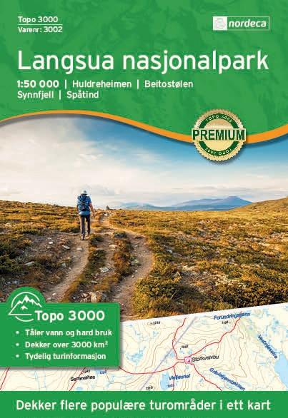 UG-3002  Langsua | topografische wandelkaart 1:50.000 7046660030028  Nordeca / Ugland Topo 3000  Wandelkaarten Noorwegen boven de Sognefjord