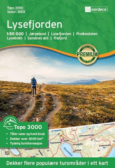 UG-3003 Lysefjorden | topografische wandelkaart 1:50.000 7046660030035  Nordeca / Ugland Topo 3000  Wandelkaarten Zuid-Noorwegen