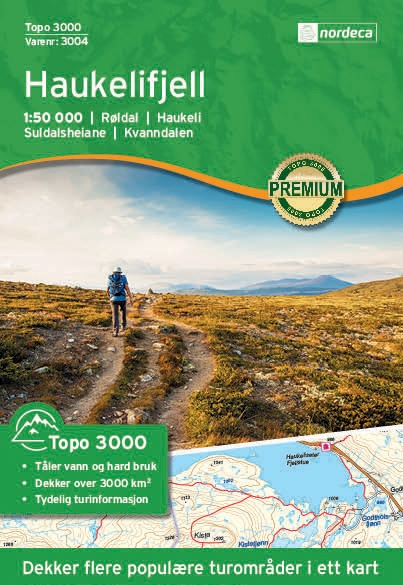UG-3004 Haukelifjell | topografische wandelkaart 1:50.000 7046660030042  Nordeca / Ugland Topo 3000  Wandelkaarten Zuid-Noorwegen
