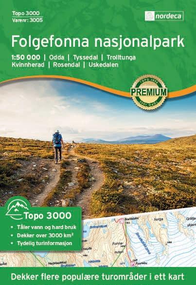 UG-3005  Folgefonna Nasjonalpark | topografische wandelkaart 1:50.000 7046660030059  Nordeca / Ugland Topo 3000  Wandelkaarten Zuid-Noorwegen