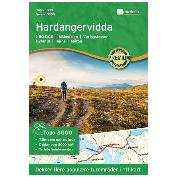 UG-3006  Hardangervidda | topografische wandelkaart 1:50.000 7046660030066  Nordeca / Ugland Topo 3000  Wandelkaarten Zuid-Noorwegen