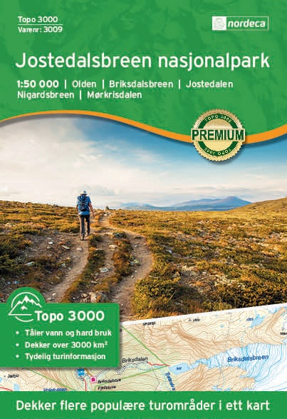 UG-3009  Jostedalsbreen Nasjonalpark | topografische wandelkaart 1:50.000 7046660030097  Nordeca / Ugland Topo 3000  Wandelkaarten Noorwegen boven de Sognefjord