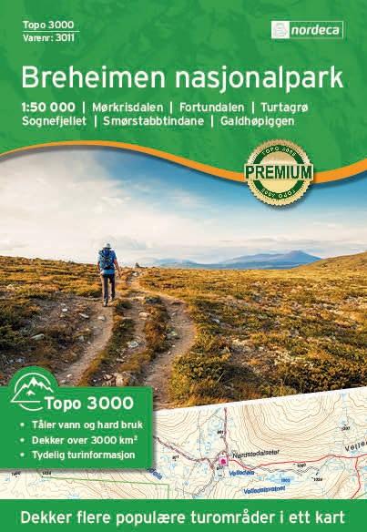 UG-3011 Breheimen Nasjonalpark | topografische wandelkaart 1:50.000 7046660030110  Nordeca / Ugland Topo 3000  Wandelkaarten Noorwegen boven de Sognefjord