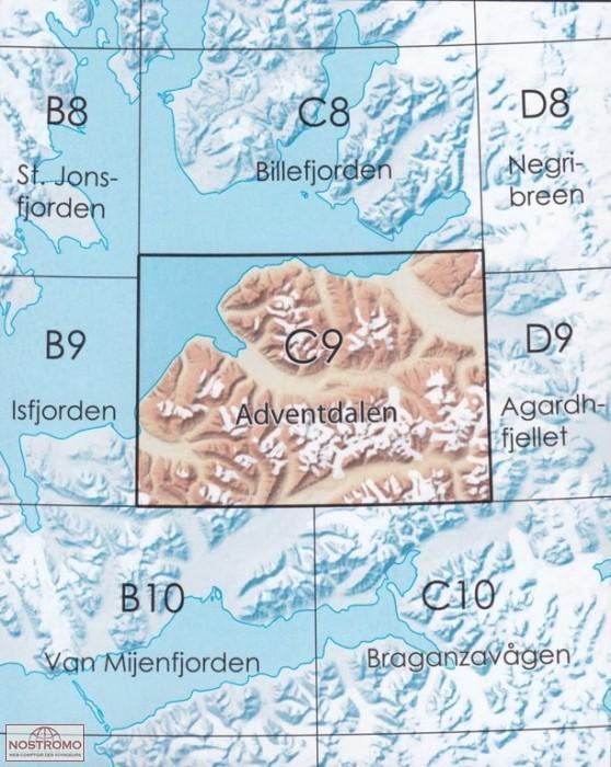 NP-C9  Adventdalen 711320  Norsk Polarinstitut Svalbard 1:100.000  Landkaarten en wegenkaarten Spitsbergen, Jan Mayen, Noordpool