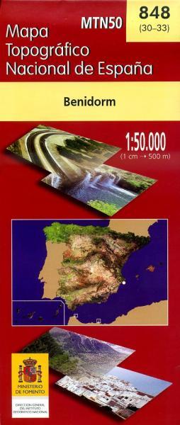 Hoja -848  Benidorm, Altea | topografische wandelkaart 1:50.000 8423434084804  CNIG Spanje 1:50.000  Wandelkaarten Costa Blanca