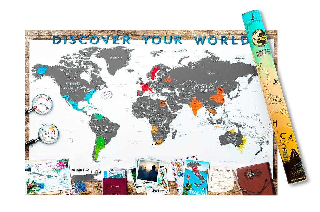 Scrape Map of the World 8717953142221  Scrape Maps   Wandkaarten Wereld als geheel