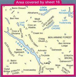 LR-016  Larig + Loch Sihn, Loch Naver | topografische wandelkaart 9780319226162  Ordnance Survey Landranger Maps 1:50.000  Wandelkaarten de Schotse Hooglanden (ten noorden van Glasgow / Edinburgh)