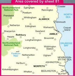 LR-081  Alnwick, Morpeth | topografische wandelkaart 9780319228722  Ordnance Survey Landranger Maps 1:50.000  Wandelkaarten Northumberland, Yorkshire Dales & Moors, Peak District, Isle of Man