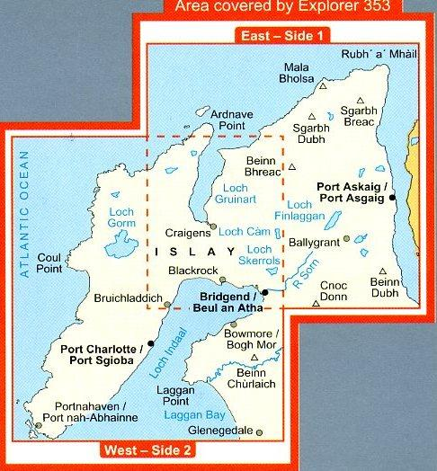 EXP-353  Islay North   wandelkaart 1:25.000 9780319238592  Ordnance Survey Explorer Maps 1:25t.  Wandelkaarten Skye & the Western Isles