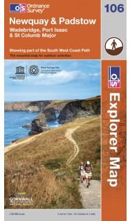 EXP-106  Newquay + Padstow | wandelkaart 1:25.000 9780319240168  Ordnance Survey Explorer Maps 1:25t.  Wandelkaarten Cornwall, Devon, Somerset, Dorset