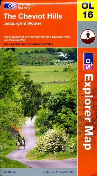EXP-016  The Cheviot Hills  (OL16) | wandelkaart 1:25.000 9780319240878  Ordnance Survey Explorer Maps 1:25t.  Wandelkaarten Northumberland, Yorkshire Dales & Moors, Peak District, Isle of Man