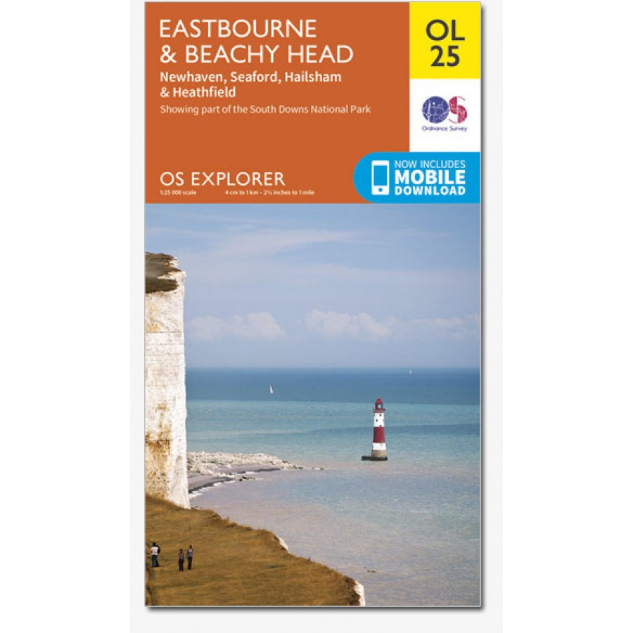 EXP-025 Eastbourne & Beachy Head  Explorer Map (OL-25) | wandelkaart 1:25.000 9780319242643  Ordnance Survey Explorer Maps 1:25t.  Wandelkaarten Kent, Sussex, Isle of Wight