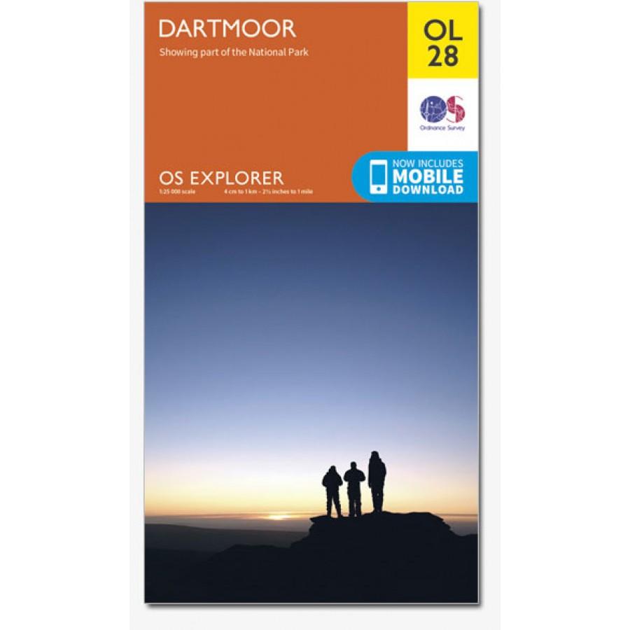 EXP-028  Dartmoor [OL28] | wandelkaart 1:25.000 9780319242674  Ordnance Survey Explorer Maps 1:25t.  Wandelkaarten Cornwall, Devon, Somerset, Dorset