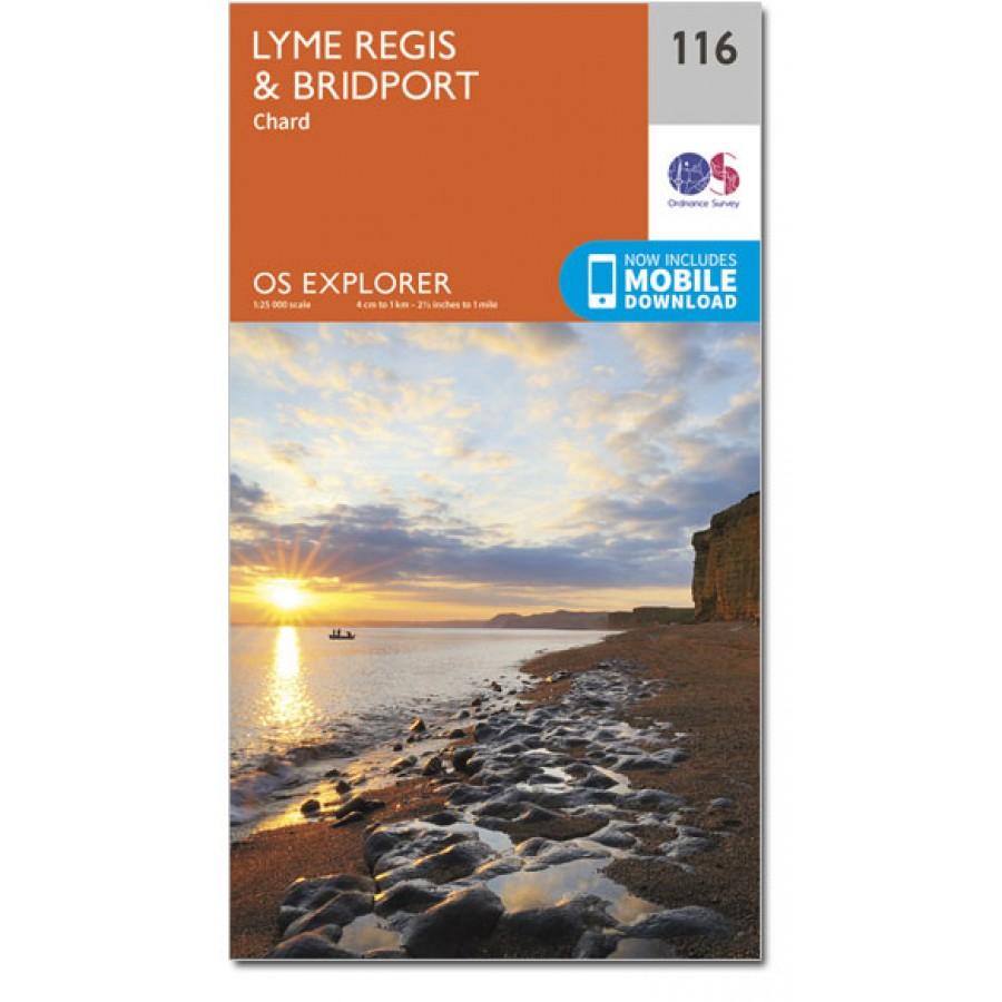 EXP-116  Lyme Regis + Bridport | wandelkaart 1:25.000 9780319243176  Ordnance Survey Explorer Maps 1:25t.  Wandelkaarten West Country