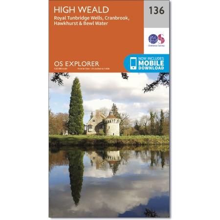 EXP-136  The Weald | wandelkaart 1:25.000 9780319243299  Ordnance Survey Explorer Maps 1:25t.  Wandelkaarten Kent, Sussex, Isle of Wight