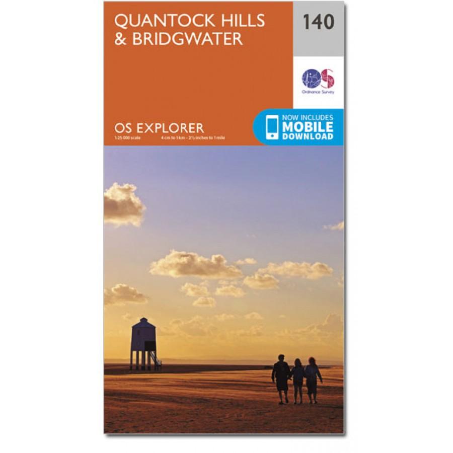 EXP-140 Quantock Hills + Bridgwater (22) | wandelkaart 1:25.000 9780319243336  Ordnance Survey Explorer Maps 1:25t.  Wandelkaarten West Country