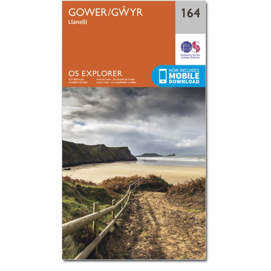 EXP-164  Gower | wandelkaart 1:25.000 9780319243572  Ordnance Survey Explorer Maps 1:25t.  Wandelkaarten Zuid-Wales, Pembrokeshire, Brecon Beacons