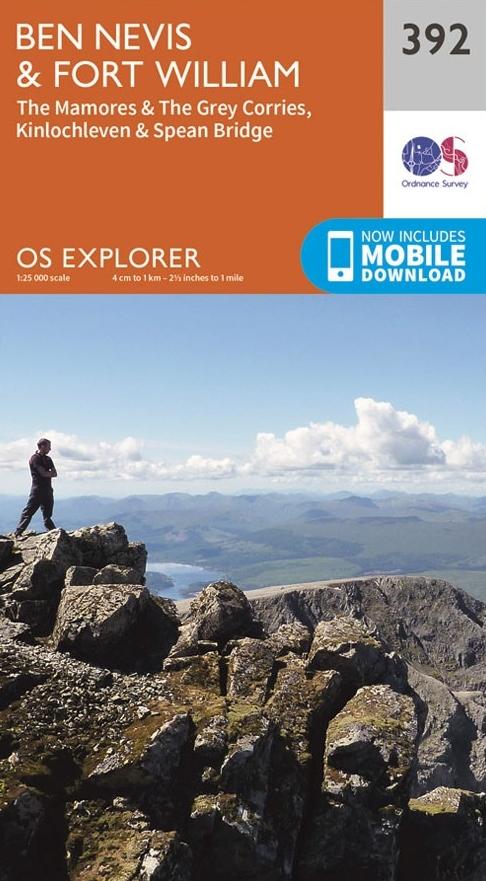 EXP-392  Ben Nevis, Spean Bridge | wandelkaart 1:25.000 9780319246351  Ordnance Survey Explorer Maps 1:25t.  Wandelkaarten de Schotse Hooglanden (ten noorden van Glasgow / Edinburgh)