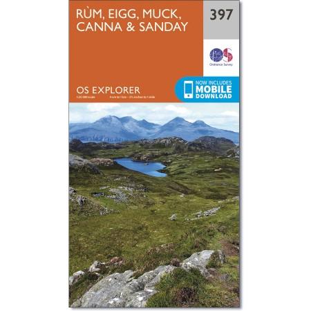 EXP-397  Rùm (Rum)   wandelkaart 1:25.000 9780319246375  Ordnance Survey Explorer Maps 1:25t.  Wandelkaarten Skye & the Western Isles