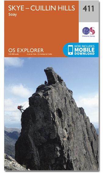 EXP-411 Skye, Cuillin Hills   wandelkaart 1:25.000 9780319246467  Ordnance Survey Explorer Maps 1:25t.  Wandelkaarten Skye & the Western Isles