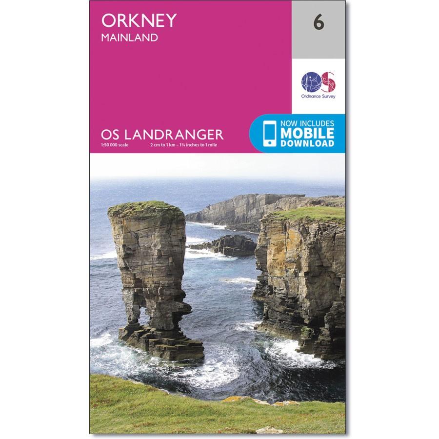 LR-006  Orkney - Mainland | topografische wandelkaart 9780319261040  Ordnance Survey Landranger Maps 1:50.000  Wandelkaarten Shetland & Orkney